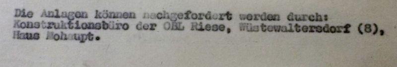 Fragment pisma z informacją o adresie biura konstrukcyjnego OBL Riese