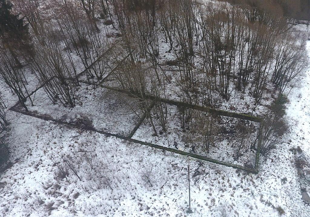 Ruiny fundamentów po baraku znajdujące się koło dawnej leśniczówki - Foto: Michał Jabłoński