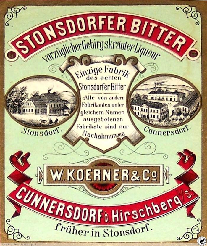 Etykieta Stonsdorfer Bitter (Staniszowski Gorzki) - Źródło: dolny-slask.org.pl