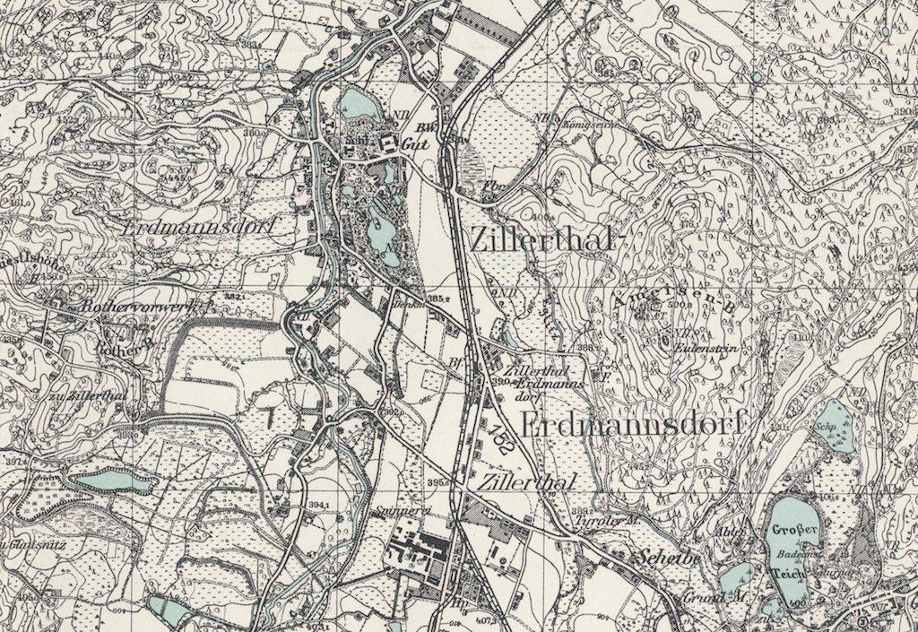 Mysłakowice (Erdmannsdorf-Zillerthal) na starej przedwojennej mapie