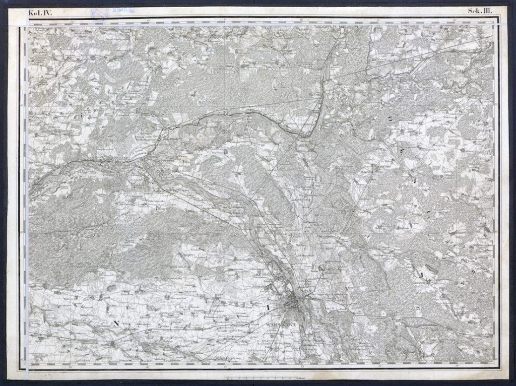 Przykładowy arkusz mapy z obszarem wokół Warszawy