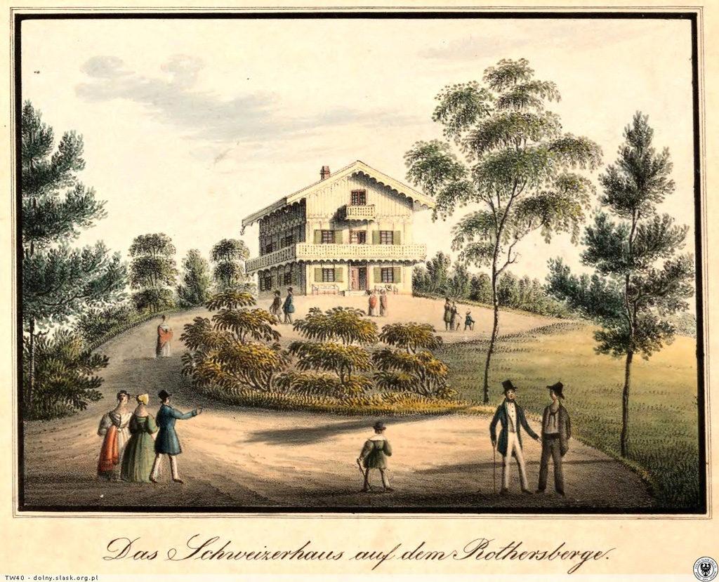 Grafika prezentująca jeden z domów tyrolskich wybudowanych w Mysłakowicach - Źródło: dolny-slask.org.pl