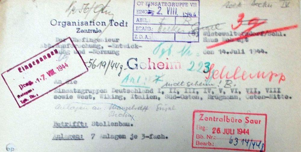 Nagłówek pisma z domu Mohaupta, w lewym górnym rogu pieczęć Centrali OT, pismo sporządzono 14 lipca 1944 roku