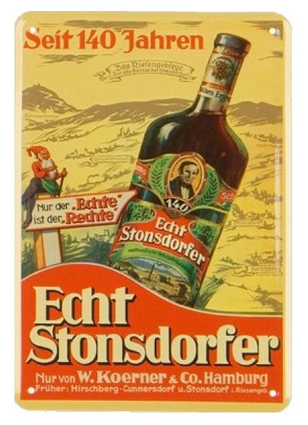 Przedwojenna reklama Echt Stonsdorfera, w tyle Karkonosze i Śnieżka