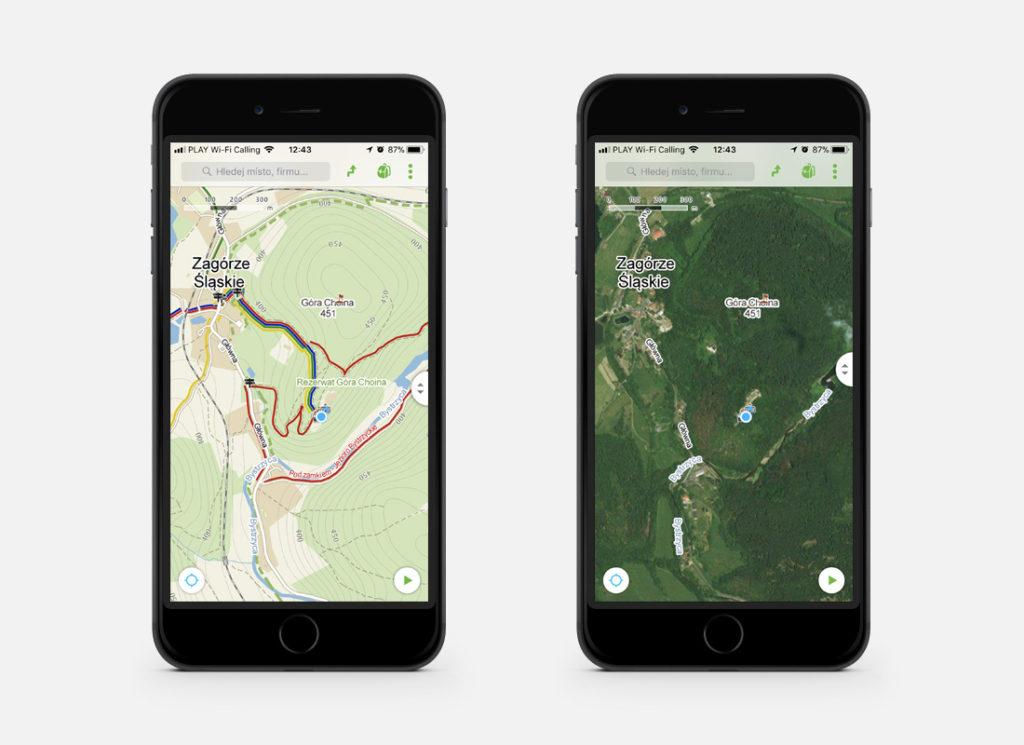 A tak aplikacja Mapy.cz wygląda w terenie, po lewej widok mapy turystycznej, po prawej widok mapy satelitarnej