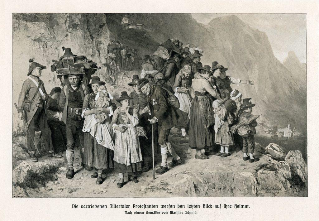 Zillertalczycy opuszczający Tyrol, ostatnie spojrzenie na ojczyznę - Autor: Mathias Schmid