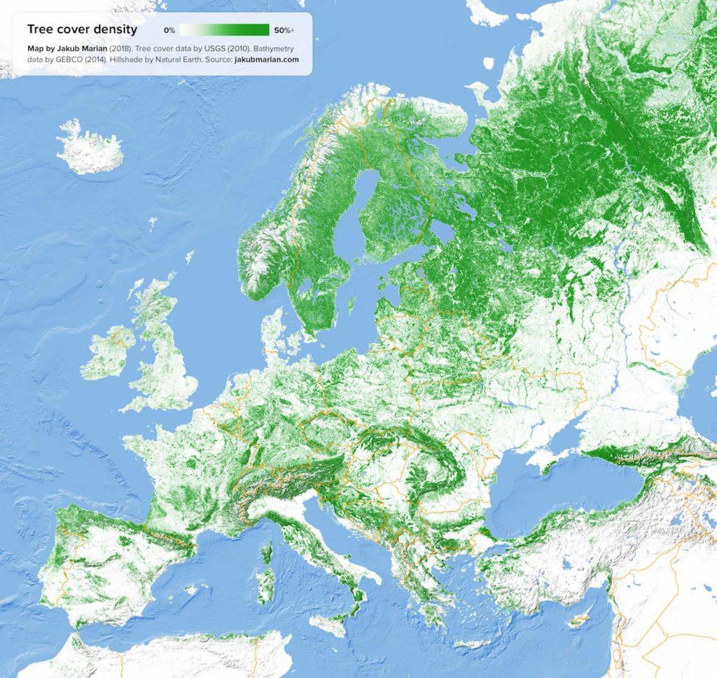 Mapa zalesienia terenu Europy - Źródło: jakubmarian.com