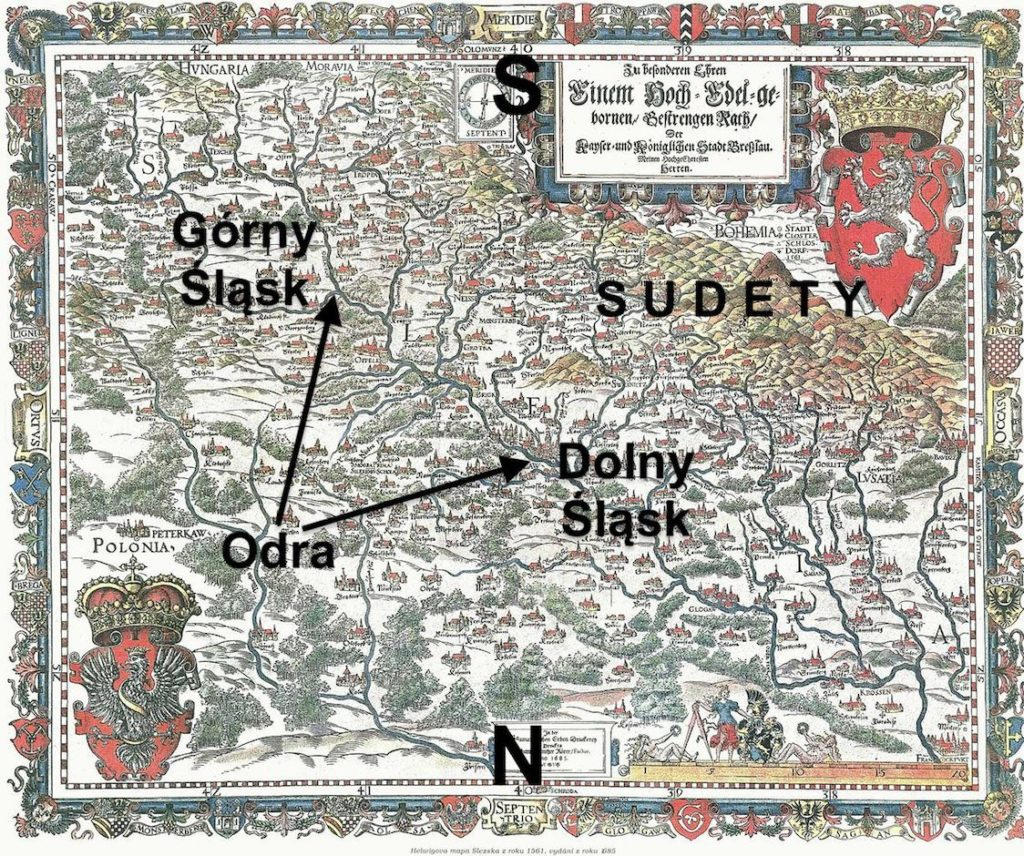Mapa Śląska autorstwa M. Helwiga z 1561 roku - Mapa zorientowana jest na południe, dzięki temu lepiej obrazuje sens określeń Górny i Dolny Śląsk