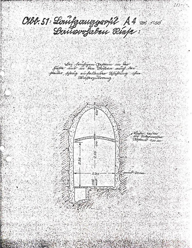 Przekrój typ A - Korytarz dochodzący do głównych podziemi - Źródło: Akta Dorscha