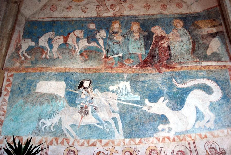 Malowidła przedstawiające walkę św. Jerzego ze smokiem – Fot. Jolanta Szczepańska medievalis.przewodnikwroclaw.eu