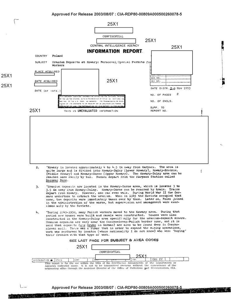 Pierwsza strona raportu CIA z20 listopada 1953 r.