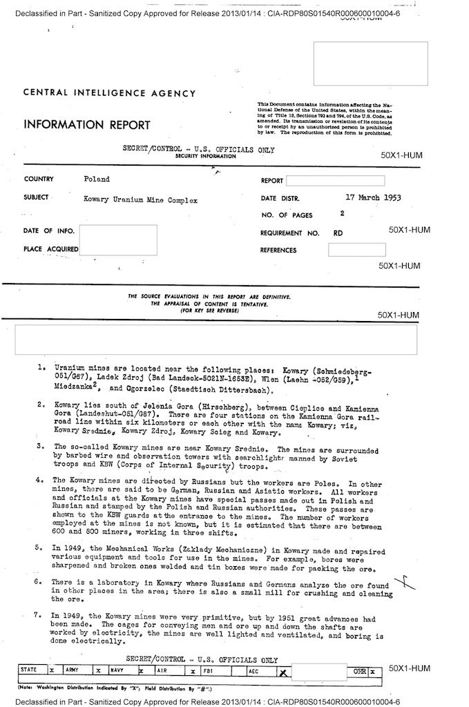 Pierwsza strona raportu CIA z17 marca 1953 r.