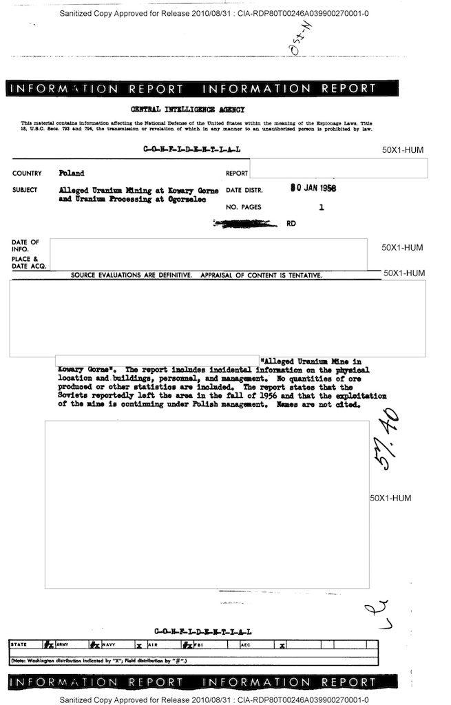 Pierwsza strona raportu CIA z20 stycznia 1958 r.