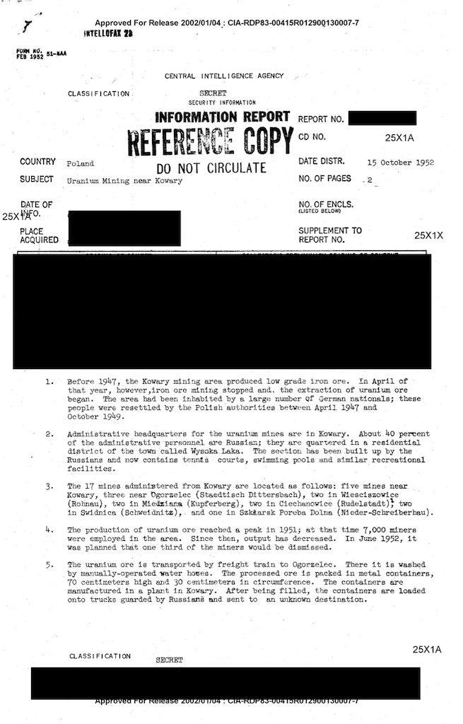 Pierwsza strona raportu CIA z15 października 1952 r.