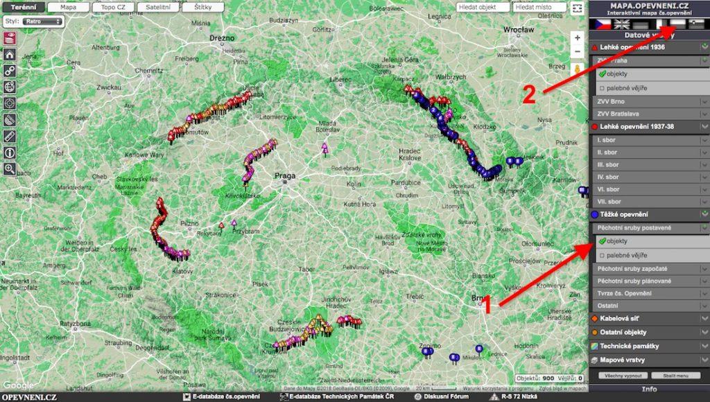 Mapa fortyfikacji, schronów i bunkrów w Czechach – Źródło: mapa.opevneni.cz