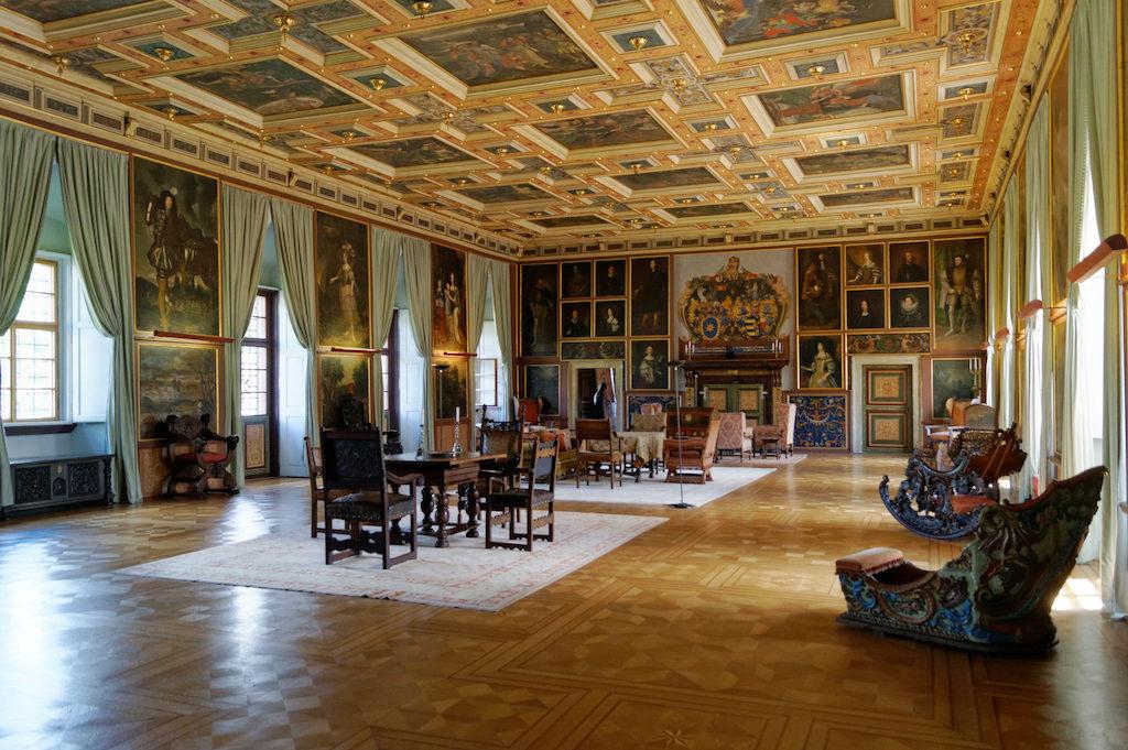 Sala rycerska, jedna z większych tego typu renesansowych sal w Czechach, powierzchnia około 300 mkw.
