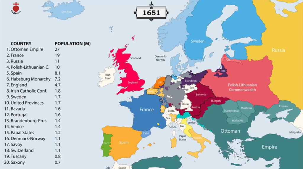 Granice państw Europy w 1651 roku – Źródło: youtube/Cottereau