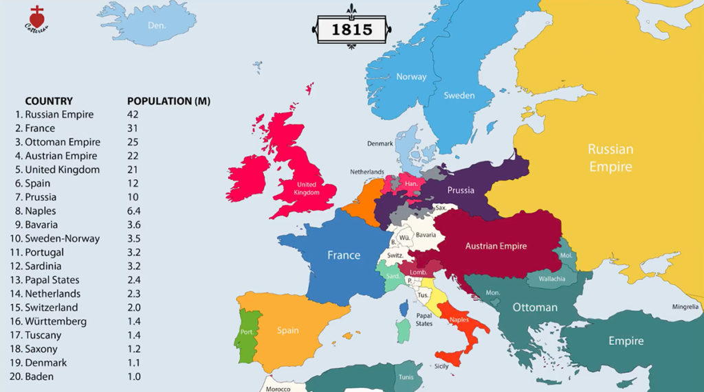 Granice państw Europy w 1815 roku – Źródło: youtube/Cottereau