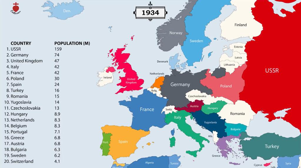 Tak rok po roku zmieniały się granice państw w Europie, 1934 rok – Źródło: youtube/Cottereau