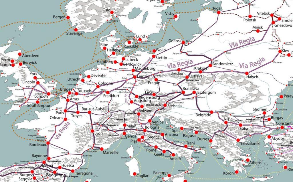 Mapa średniowiecznych szlaków handlowych w Europie – Autor: Martin Mansson