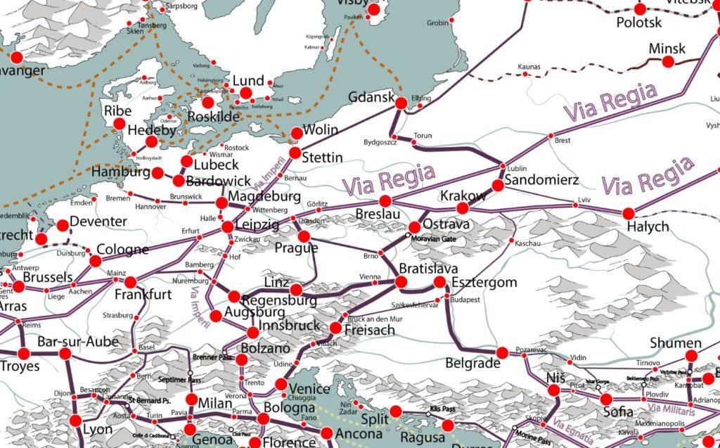 Mapa średniowiecznych szlaków handlowych – Przybliżenie na współczesny obszar Niemiec i Polski