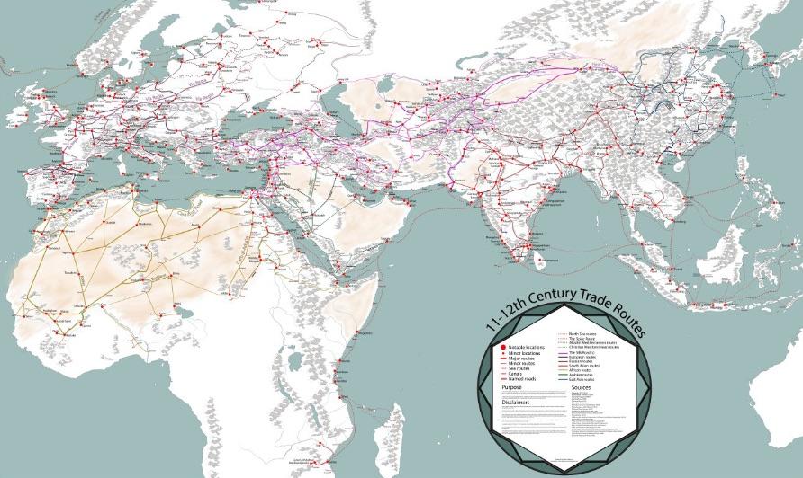 Mapa szlaków handlowych w średniowieczu – Autor: Martin Mansson
