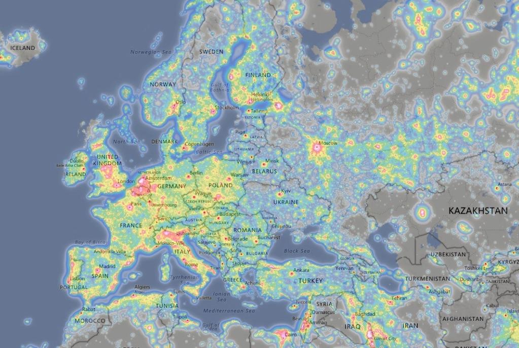Mapa zanieczyszczenia światłem Europy – Źródło: www.lightpollutionmap.info