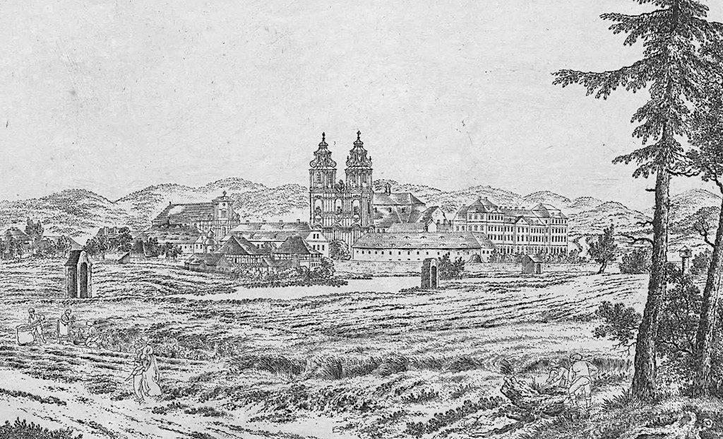 Opactwo Cystersów w Krzeszowie na grafice z XIX wieku – W tle nowy barokowy kościół