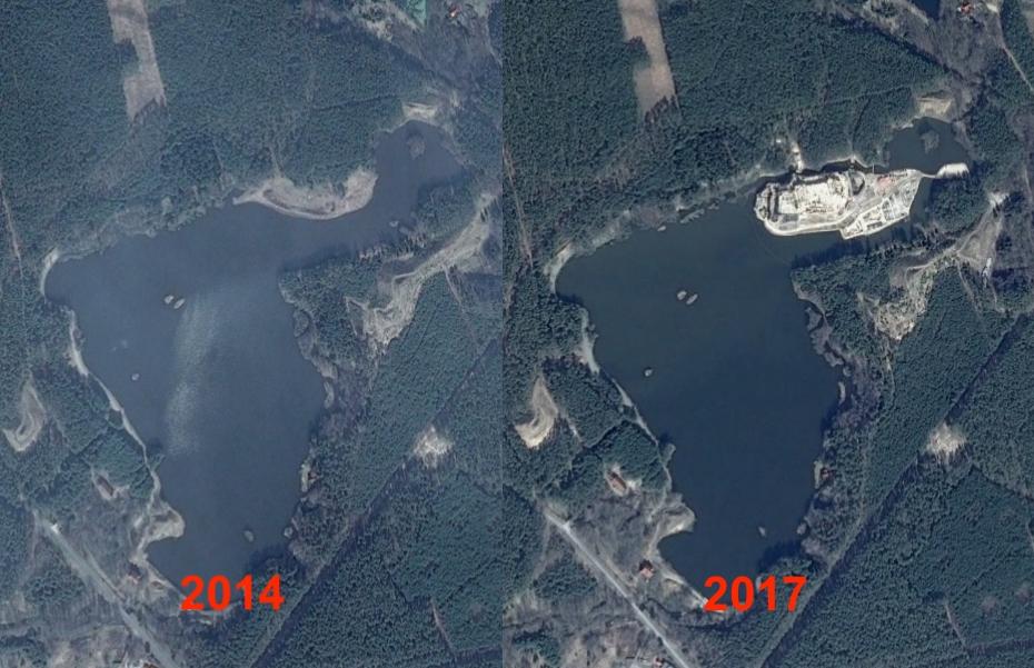 Porównanie zdjęć satelitarnych z 2014 i 2017 roku – Źródło: Google Earth