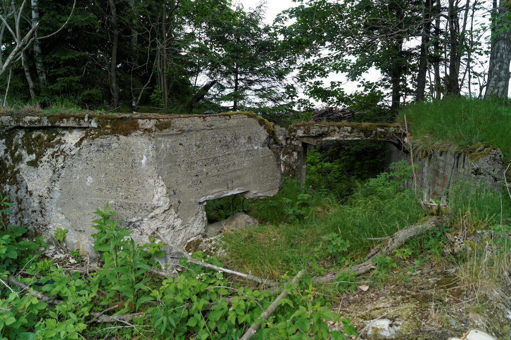 Pozostałości po większym schronie nad Przełęczą nad Porębą