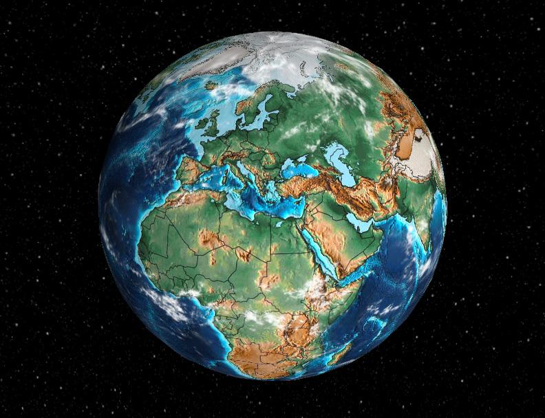 Współczesny wygląd Ziemi – Źródło: dinosaurpictures.org/ancient-earth