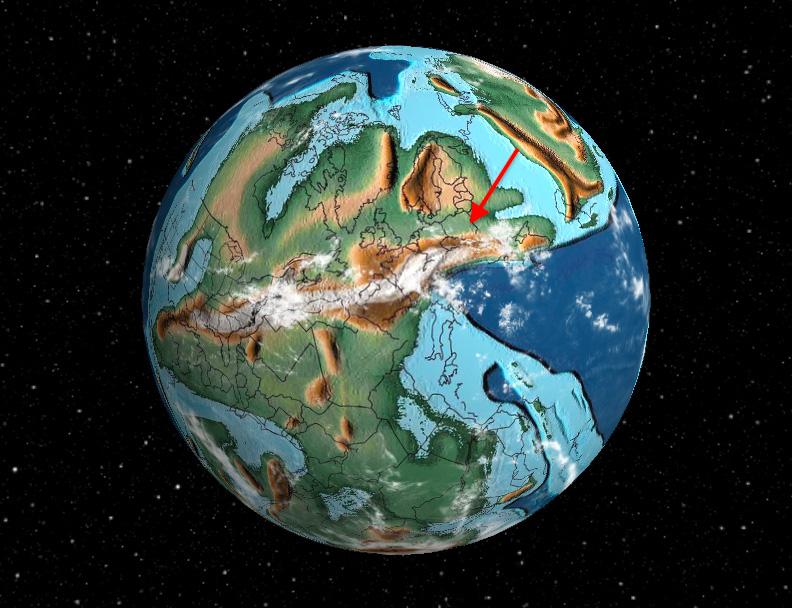 Ziemia 280 mln lat temu, Polska zaznaczona strzałką – Gdzie Polska znajdowała się setki milionów lat temu?