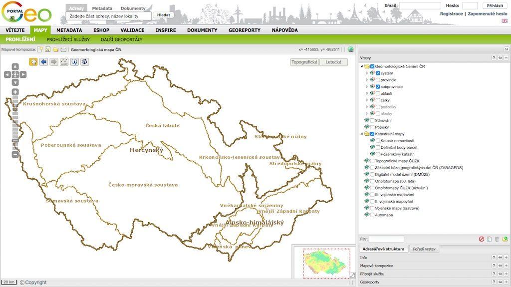 Czeski geoportal dla czeskiej części Sudetów podaje oficjalną nazwę Krkonošsko-jesenická soustava – Źródło: geoportal.gov.cz