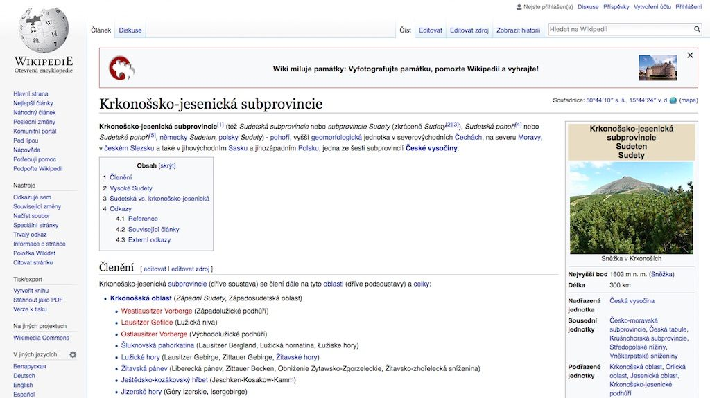 Sudety w Czechach? O nie! Czeska wikipedia jednoznacznie podaje oficjalną nazwę Krkonošsko-jesenická subprovincie
