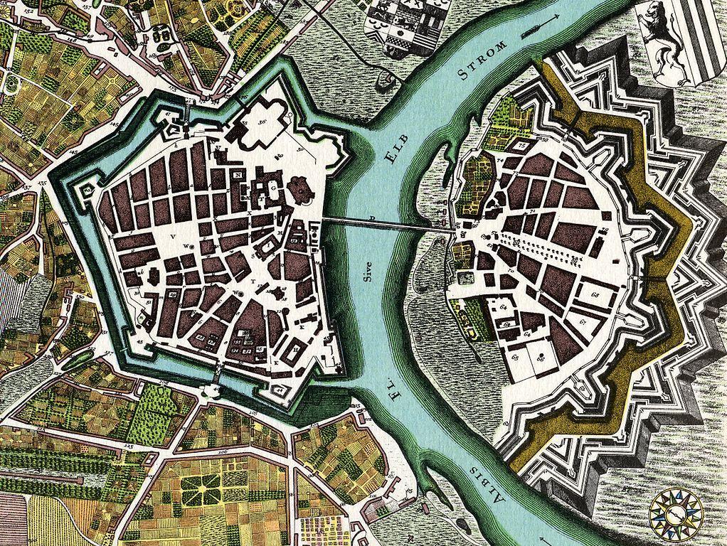 Plan fortyfikacji Drezna z 1750 roku – Autor: Matthäus Seutter