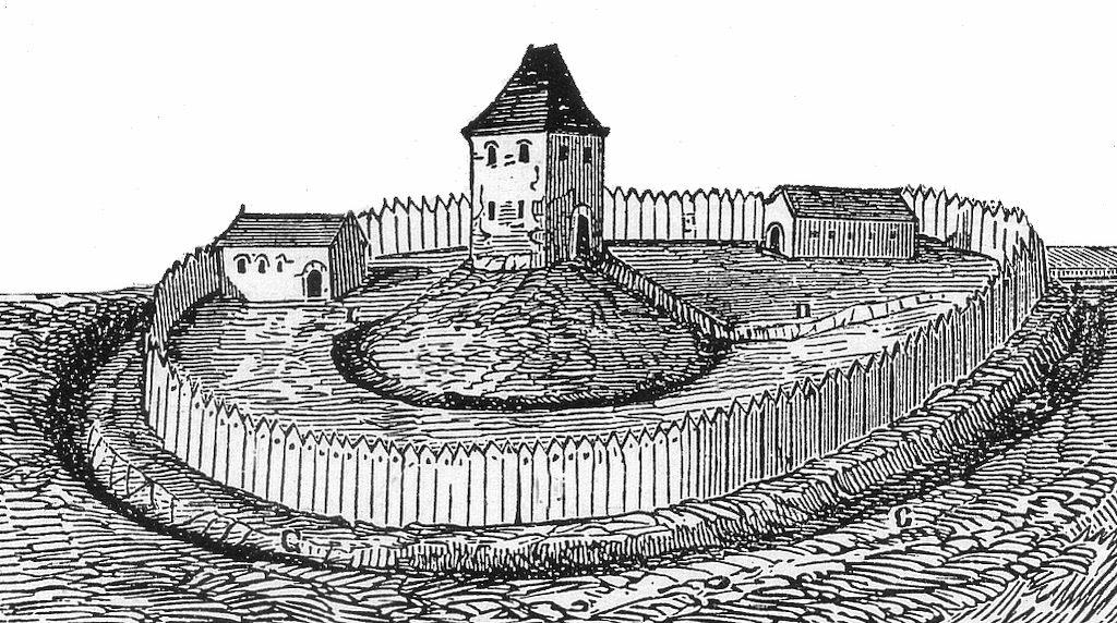 """XIX-wieczna grafika przedstawiająca rezydencję typu """"motte"""" – Autor: Arcisse de Caumont"""