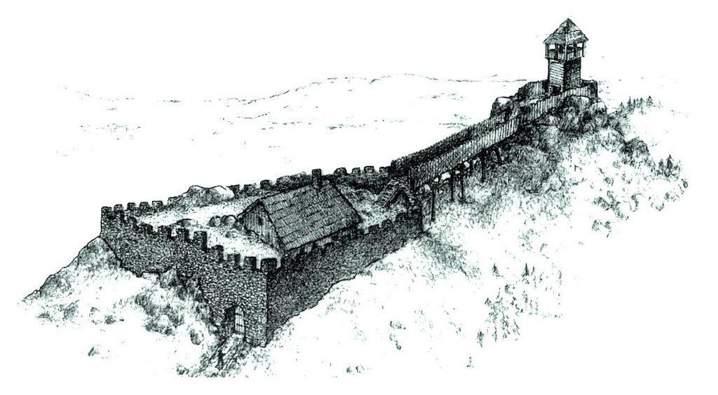 Rekonstrukcja wyglądu zamku na Kozińcu – Autor: Stanisław Firszt