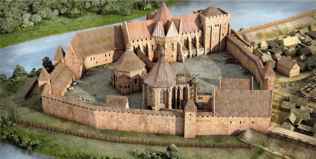 Wizualizacja zamku na Ostrowie Tumskim we Wrocławiu około 1300 roku – Autor: Śląskie Studio Architektury
