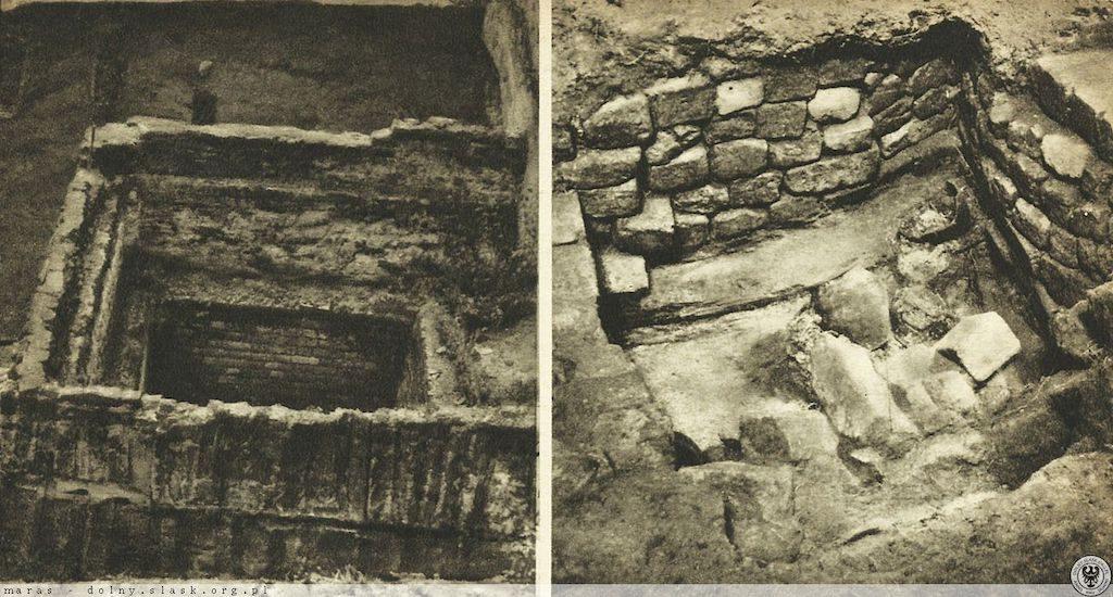 Prowadzone w latach 50. badania archeologiczne pozwoliły odkryć relikty zamku, tu widoczna podstawa wieży – Źródło: polska-org.pl