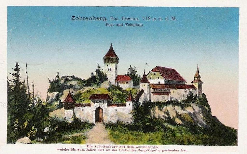 Wyobrażenie (raczej fantastyczne) zamku na Ślęży ze starej niemieckiej pocztówki