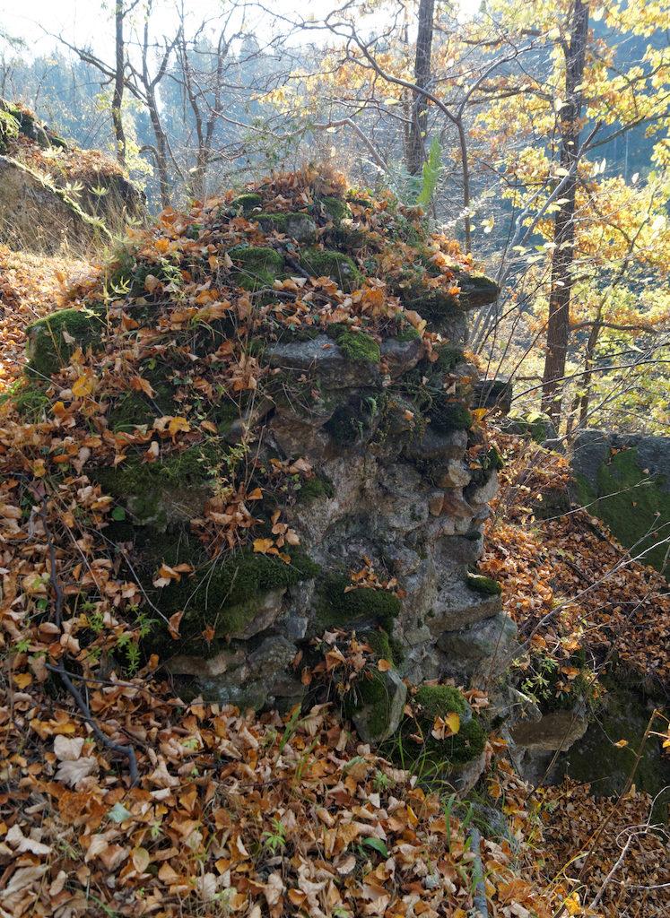 W terenie można jeszcze odnaleźć niewielkie fragmenty zamkowych murów