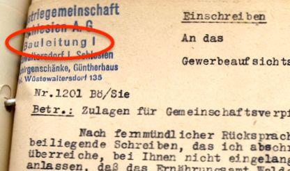 Przykład jednego z dokumentów, na którym widzimy pieczątkę kierownictwa nr 1 (Bauleitung I) w Domu Güntera