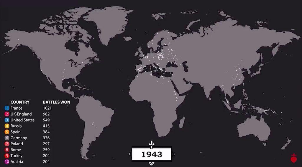 Mapa świata z zaznaczonymi bitwami – Źródło: YouTube/Cottereau