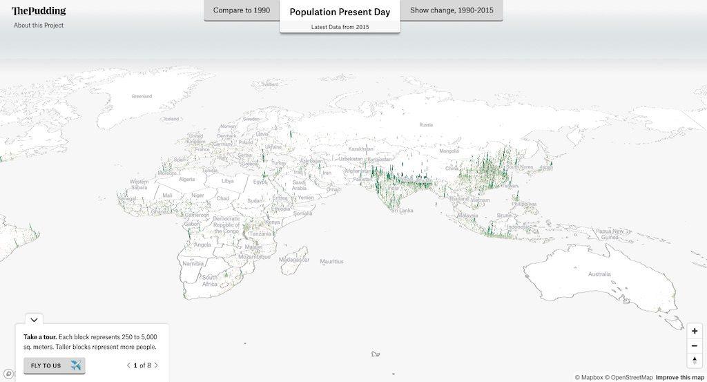 Rozkład zaludnienia w 3D – Europa, Azja, Afryka i Australia – Źródło: pudding.cool