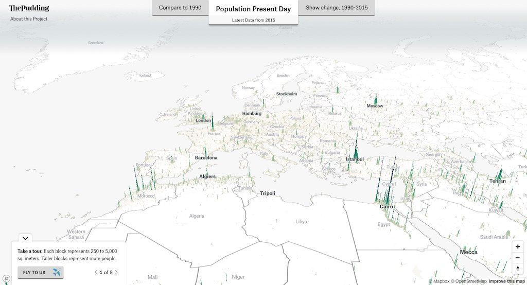 Wizualizacja populacji w 3D w Europie – Źródło: pudding.cool