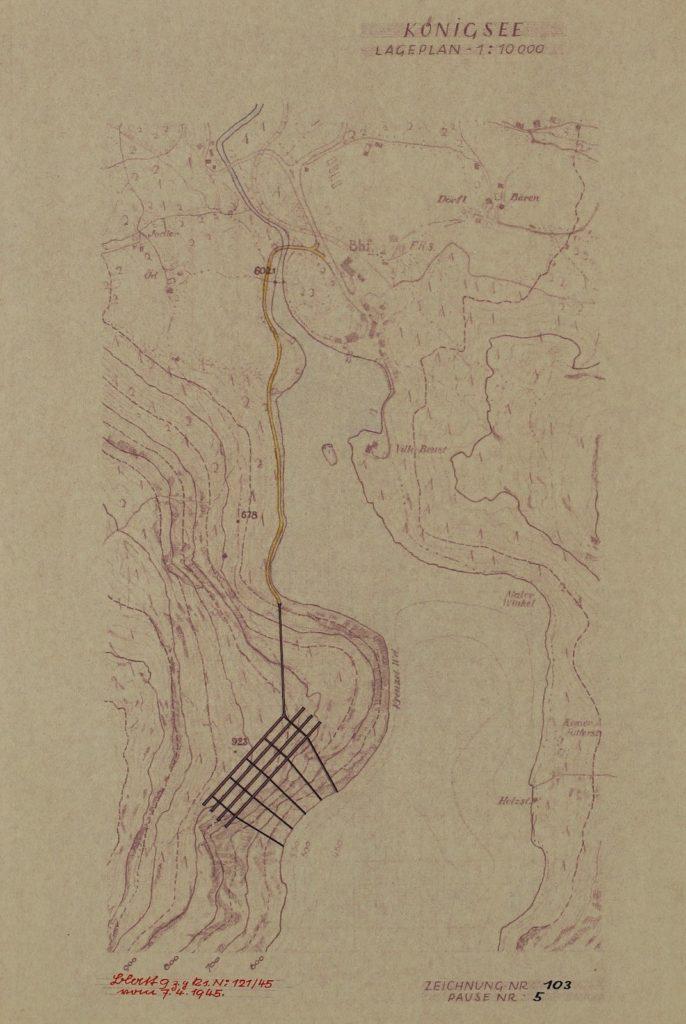 Plan lokalizacji nowej podziemnej kwatery dla Hitlera nad jeziorem Königssee