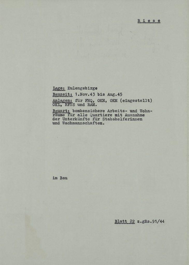 """Karta charakterystyki obiektu o kryptonimie """"Riese"""""""