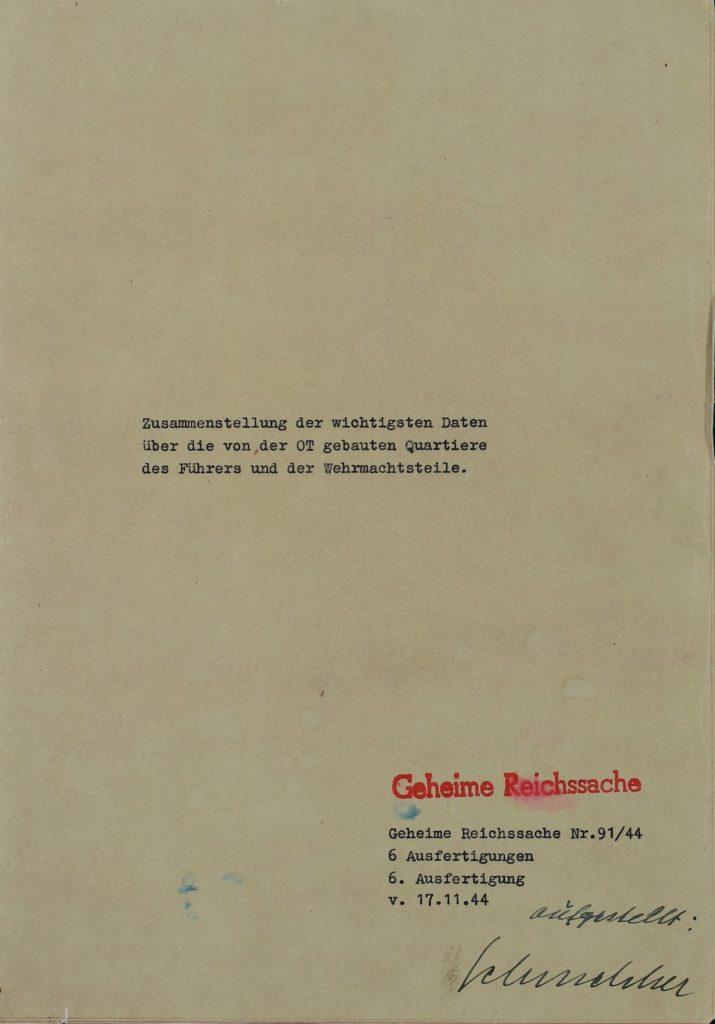 Strona tytułowa raportu Schmelchera z 17 listopada 1944 roku