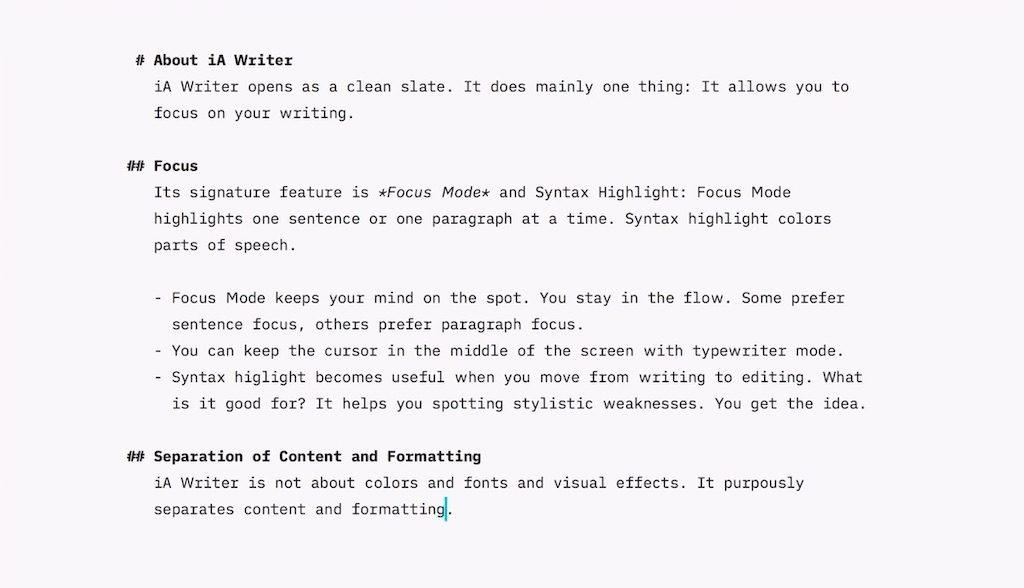 iA Writer – Edytor tekstów typu markdown