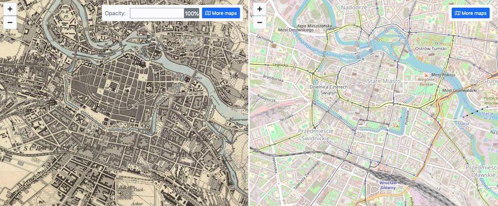 Tryb porównujący dwie mapy w oddzielnych oknach – Źródło: mapire.eu